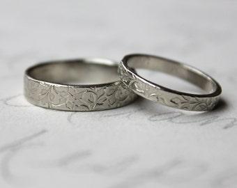 rustic vine wedding band ring set . 14k white gold leaf vine engraved wedding bands rings . always message gold wedding bands peacesofindigo