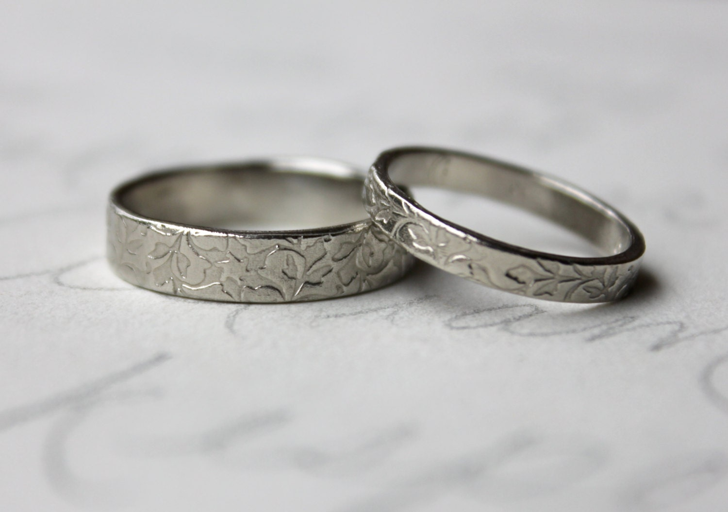 rustic vine wedding band ring set 14k white gold leaf vine