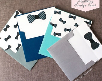 Printed Matching Envelope Liner | A2 Sized Liner | Will You Be My Man of Honor Bowtie | Will You Be My Groomsman, Best Man, Etc Card