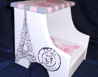 Custom designed Parisian Wooden Step Stool, Handmade and Handpainted, personalized kids furniture, kids room decor