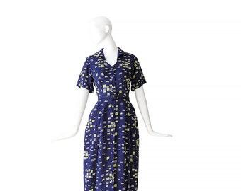 1950s NOVELTY PRINT Dress •50s Dress • Navy Brushstroke Dress • M / L Medium Large