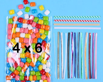 Favor Bag Kit: Small Cellophane Bags & Twist Ties, Candy Bags, Candy Buffet Bag, Sweet Bags, Clear Treat Bags, Valentines Day Candy Bags