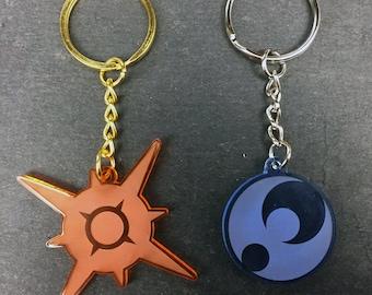 Pokémon Sun & Moon Symbol Keychain || laser-cut acrylic