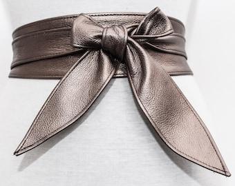 Antique Gold Leather Tulip tie Obi Belt | Gold Belt | Bridesmaid Sash | tie belt | Real Leather wrap Belt | plus size | ready to ship