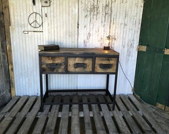 Raw wood and steel industrial furniture Dresser