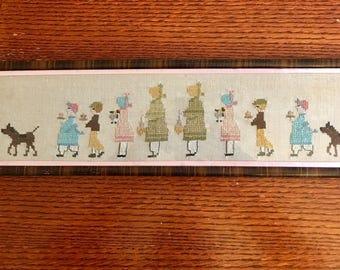 Cross Stitch Sampler  Mom Girl Boy Grandma Horse 1940's
