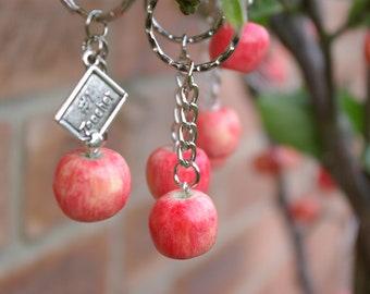 Apple keychain, Teacher's gift, Polymer clay apple, Realistic fake food, Apple charm,