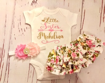 Baby Girl Coming Home Outfit, Little Sister, Baby Girl Clothes, Personalized, Newborn, Baby, Outfit, Take Home Outfit, Newborn, Take Home