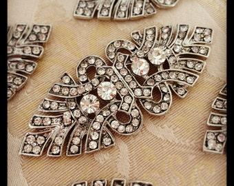 Art Deco Brooch Silver Rhinestone Brooch Crystal Brooch Wedding Rhinestone Broach
