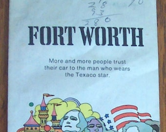 Vintage TEXACO-1973 Street Map of Fort Worth TEXAS & Part of Dallas-with Index-FREE Shipping!