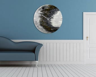 Art With Lights Space Art Large Wall Clock Modern Lighting Large Circular Art Large Clock Glass Clock Wall Clocks with Lighting Astronomy