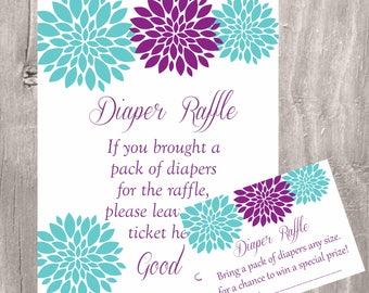 Diaper Raffle Tickets and Sign, Teal and Purple Baby Shower Diaper Raffle, Instant Download, Printable Game, Floral Baby Diaper Raffle