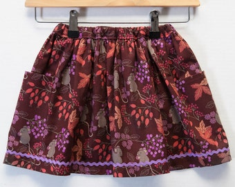 Girls Mouse Print Cotton Elasticated Waist Skirt