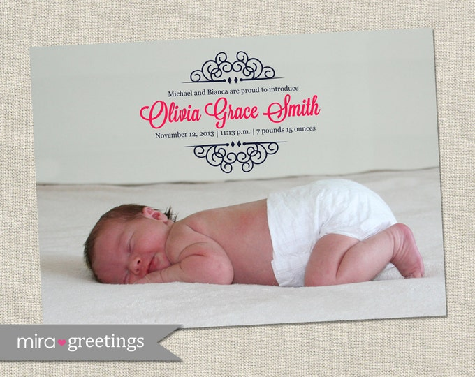 Scrollwork Birth Announcement - Printable Digital File