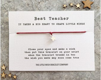 TEACHER thank you WISH BRACELET Gift nursery teacher, best teaching assistant, Add a Name & Custom  options