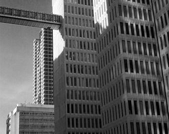 Urban Black and White Photography Downtown Atlanta Skybridge, Architecture Photo Architectural Art