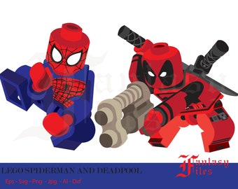 LEGO, Spiderman and deadpool. svg-ai-dxf-jpg-png-jpg, Instant DOWNLOAD