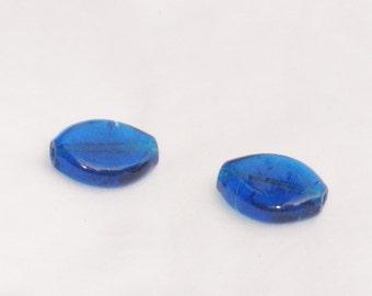 Perlen, blau, Glas, groß, 2 Stück, F, destash