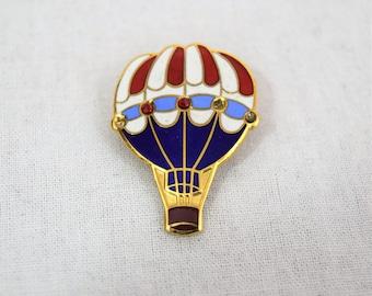 Vintage 1970s 1980s hot air balloon enameled brooch pin