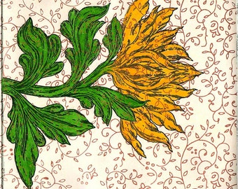 The Golden Flower Hand Made Card, Archival reproduction from original watercolor etching.