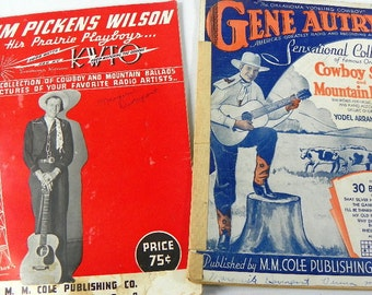 130 Sheets of Cowboy Ephemera Craft Paper Music Magazines from the 1930s Slim Pickens and Gene Autry