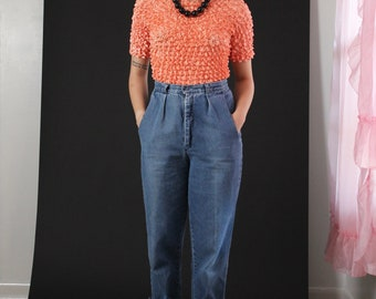 Peach Orange Popcorn Scrunchie Stretch Top - One size  - vintage 90s