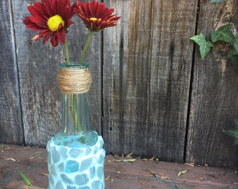 "Sea Glass Mosaic Bud Vase - 7 1/2"" tall.  Teal Mosaic with twine wrapped top."