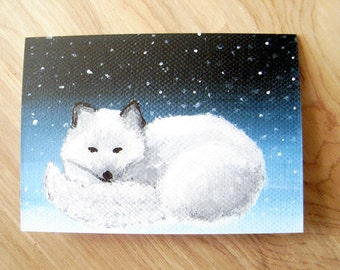 Arctic Fox Note Card - Blank Fox Greeting Card- Blank Arctic Fox Note Card with Envelope