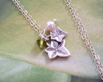 Tiny Leaf Necklace, Silver Ivy Necklace, ivy leaf, olivine, grape leaves, english ivy branch, sterling silver, matte silver, fall fashion