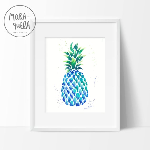 BLUE PINEAPPLE illustration in original watercolor.