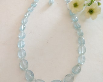 Free Shipping-Aquamarine Gemstone Necklace, Sterling Silver, Bridal Necklace. Gift Ideas, For Her. Christmas Gift, Mother's Day.