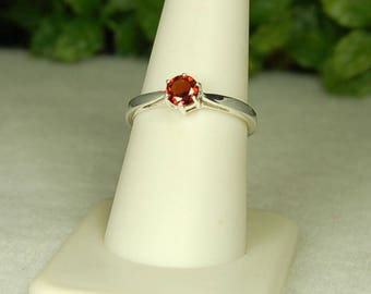 Garnet Ring, Size 8, Garnet Solitaire, Cranberry Red, Sparkling Cut, Natural Garnet, Sterling Silver, January Birthstone, Red Garnet Ring