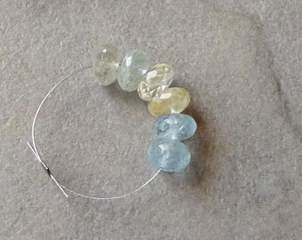 AA Multi Colored Aquamarine Faceted Rondelles - 7mm - 6 Beads