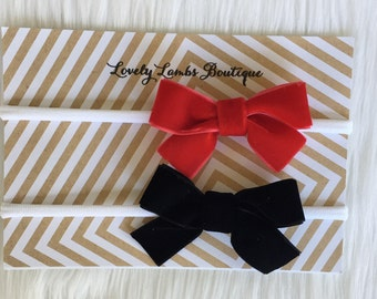 Set of Two Velvet Bows, Velvet Headband Set, Baby Bows, Newborn Baby Bows,  Baby headbands