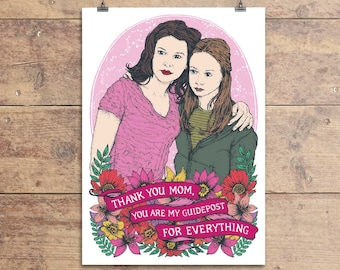 Gilmore Girls Card - Lorelai and Rory - Thank You Mom - Mother's Day - Birthday - Greeting Card