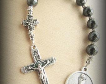 Boy's Communion Gemstone Catholic Chaplet with Chalice Medal and Prayer