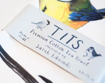 Tits Cotton Tea towel - funny bright garden bird pun teatowel - TT01