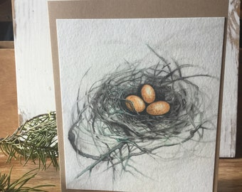 Handmade Art Card Birds Nest With Yellow Eggs Printed on Watercolor Paper