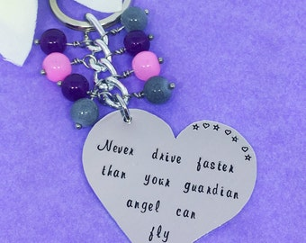 New Driver Gift - You've Passed - Driving Test Keyring - Hand Stamped Heart - Christmas Gift - Personalised Bag Charm -Guardian Angel Gift