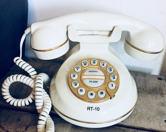 Ivory & Gold Rotary Dial Phone