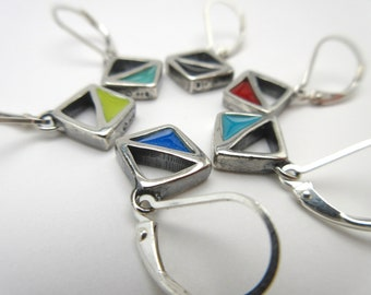 Triangular Geometric Earrings - Reversible Silver and Enamel Lever Back Earrings in Three Colorways