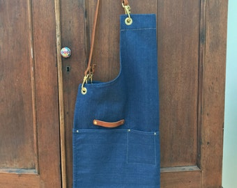 Organic Blue denim artisan apron with leather straps