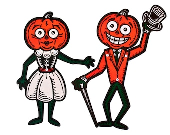 "Halloween Pumpkin People Die Cuts Set of Two 17"" Vintage Inspired Cutout Decorations"