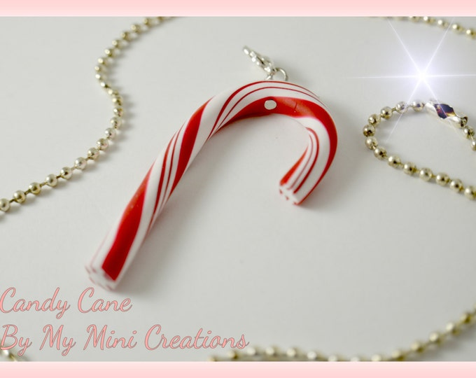 Candy Cane Necklace, Polymer Clay, Christmas Charm, Miniature Food, Miniature Food Jewelry