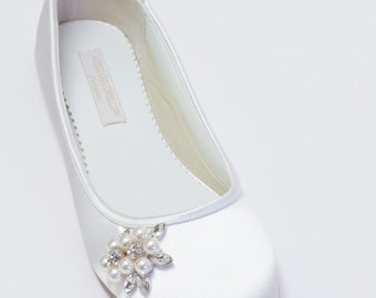 Flat Wedding Shoes - Ballet Flats - Choose From Over 200 Colors - Pearls - Crystals - Parisxox Ballet Flats Shoes - Wedding Shoes - Flats