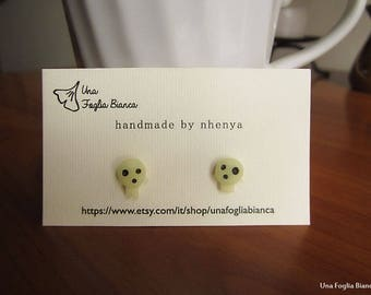 Kodama earrings, charm Ghibli Miyazaki cute princess Mononoke handmade polymer clay