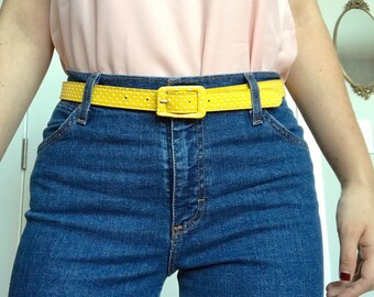 Yellow and White Polkadot Belt