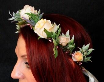 Peach flower crown-spring hair piece-Peach flower headband-flower crown-Floral halo Wedding flower crown-Flower girl halo- Peach orange boho