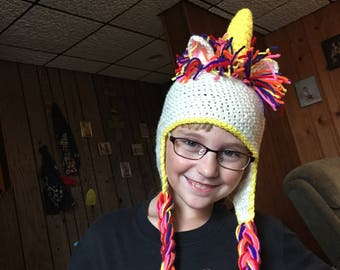 Unicorn Crochet Hat with Ear Flaps