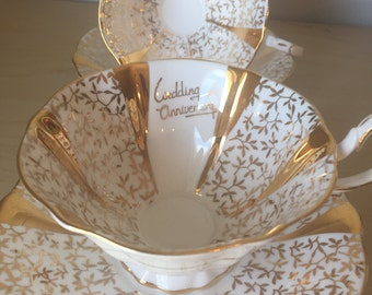 """Queen Anne """"Gold Lace"""" Vintage Teacups and Saucers, Wedding Anniversary Tea Cups and Saucers, 50th Golden Bone China"""